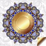Fondo floreale leggero con il modello del cerchio dell'oro Immagine Stock
