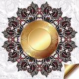 Fondo floreale leggero con il modello del cerchio dell'oro Fotografie Stock