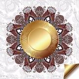 Fondo floreale leggero con il modello del cerchio dell'oro Immagini Stock