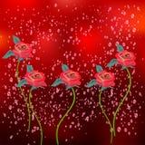 Fondo floreale nel rosso Fotografia Stock Libera da Diritti