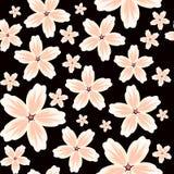 Fondo floreale senza cuciture di vettore con un modello di grandi e piccoli fiori nei colori pastelli su un fondo nero illustrazione vettoriale