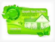 Fondo floreale verde con la casa Immagine Stock