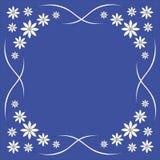 Fondo, flores blancas en un fondo azul, marco para las tarjetas de felicitación, margaritas hermosas stock de ilustración