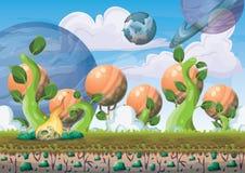 fondo flotante de la isla del vector de la historieta con las capas separadas para el arte y la animación del juego Fotografía de archivo