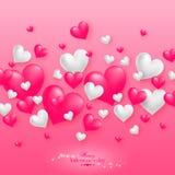 Fondo flotante realista de los corazones de la tarjeta del día de San Valentín 3D Imágenes de archivo libres de regalías