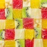 Fondo a forma di di frutti del cubo Fotografie Stock