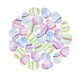 Fondo a forma di rotondo dell'acquerello con le uova di Pasqua royalty illustrazione gratis