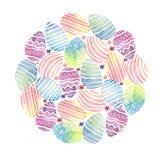 Fondo a forma di rotondo dell'acquerello con le uova di Pasqua illustrazione vettoriale