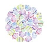 Fondo formado redondo de la acuarela con los huevos de Pascua libre illustration