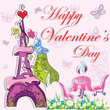 Fondo francés lindo del día de tarjetas del día de San Valentín Imagen de archivo