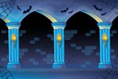 Fondo frecuentado del interior del castillo stock de ilustración