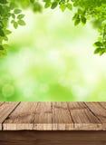 Fondo fresco del bokeh di verde della molla con la tavola di legno per le vostre esposizioni dei prodotti. Sedere naturali di bell Immagine Stock Libera da Diritti