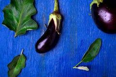 Fondo fresco della melanzana con la foglia Vista superiore Tavola rustica blu Fotografia Stock Libera da Diritti
