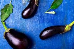 Fondo fresco della melanzana con la foglia Vista superiore Tavola rustica blu Fotografia Stock