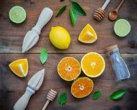 Fondo fresco mezclado de los agrios y de las hojas de la naranja Ingredie Foto de archivo libre de regalías