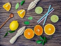 Fondo fresco mezclado de los agrios y de las hojas de la naranja Ingredie Fotografía de archivo libre de regalías