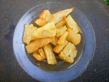Fondo frito mandioca foto de archivo
