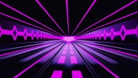 fondo fucsia púrpura del movimiento de Loopable del túnel de Tron de la ciencia ficción 3D stock de ilustración