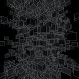 Fondo futurista abstracto de cubos negros Imagen de archivo
