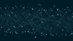 Fondo futurista abstracto de líneas y de puntos conectados Las líneas de neón son azules Movimiento de elementos Estilo del plexo stock de ilustración