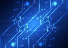 Fondo futurista abstracto de la placa de circuito de la tecnología, ejemplo del vector Fotos de archivo