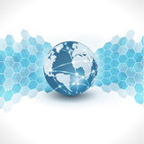 Fondo futurista abstracto del negocio del mundo y de la tecnología, vector y ejemplo Imagen de archivo
