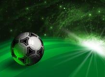 Fondo futurista con el balón de fútbol Fotografía de archivo