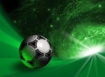 Fondo futurista con el balón de fútbol Imágenes de archivo libres de regalías