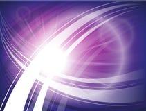 Fondo futurista con los círculos, ondas y líneas azules, púrpuras brillantes Foto de archivo libre de regalías