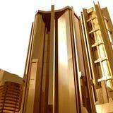 Fondo futurista de los edificios de la ciudad del oro Imágenes de archivo libres de regalías