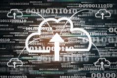 Fondo futurista del c?digo binario de los datos digitales y tecnolog?a computacional del icono de la nube, concepto de conservar  fotografía de archivo libre de regalías