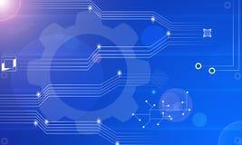 Fondo futurista del extracto del circuito del flujo de datos de la electrónica de la tecnología de la información del fondo azul  stock de ilustración