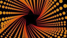 Fondo futurista del túnel, mosca dentro del espacio digital de las partículas