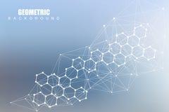 Fondo futurista moderno del modelo hexagonal científico Fondo abstracto virtual con la partícula, molécula Foto de archivo