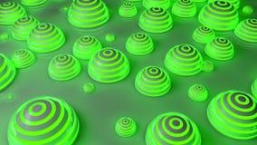 Fondo futurista verde de las esferas Ilustración del Vector
