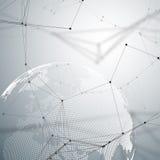 Fondo futuristico astratto con i binari di raccordo ed i punti, struttura lineare poligonale Globo del mondo su gray globale royalty illustrazione gratis