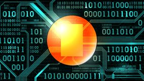 Fondo futuristico astratto con il codice binario elettronico del circuito ed il posto rotondo Fotografia Stock Libera da Diritti
