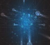 Fondo futuristico astratto di affari di tecnologie informatiche di dissolvenza Immagini Stock