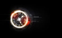 Fondo futuristico astratto di tecnologia con il concetto dell'orologio e la macchina del tempo, illustrazione di vettore royalty illustrazione gratis