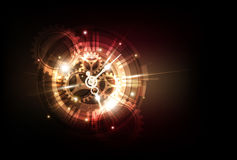 Fondo futuristico astratto di tecnologia con il concetto dell'orologio e la macchina del tempo, vettore illustrazione di stock