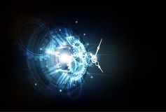 Fondo futuristico astratto di tecnologia con il concetto dell'orologio e la macchina del tempo, vettore Fotografie Stock