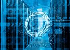 Fondo futuristico astratto sulla fine sull'interno moderno della stanza del server, computer eccellente, Ce di dati Fotografie Stock Libere da Diritti