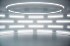 Fondo futuristico bianco interno, concetto dell'interno di fantascienza Interno vuoto con l'illustrazione delle luci al neon 3D fotografia stock