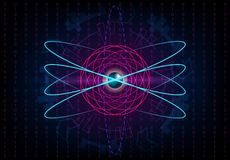 Fondo futuristico con gli elettroni, il centro metallico dell'atomo di HUD illustrazione vettoriale