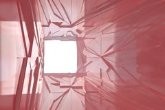 Fondo futuristico del tunnel del triangolo irregolare architettonico astratto della luce fatto di metallo o di plastica rosso Suc Immagini Stock