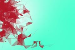 Fondo futuristico del turchese di tecnologia Fantasia futuristica del melograno del triangolo rosa del plesso rappresentazione 3d Immagine Stock Libera da Diritti