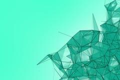 Fondo futuristico del turchese di tecnologia Fantasia futuristica del triangolo del plesso della menta rappresentazione 3d Fotografia Stock Libera da Diritti
