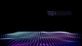 Fondo futuristico dell'estratto 3D Dots And Lines Geometric Digital illustrazione di stock