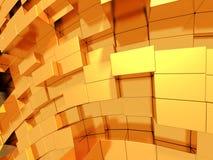 Fondo futuristico dell'estratto dorato dei cubi Fotografia Stock
