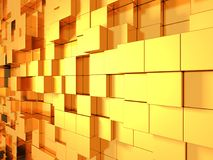 Fondo futuristico dell'estratto dorato dei cubi Fotografie Stock